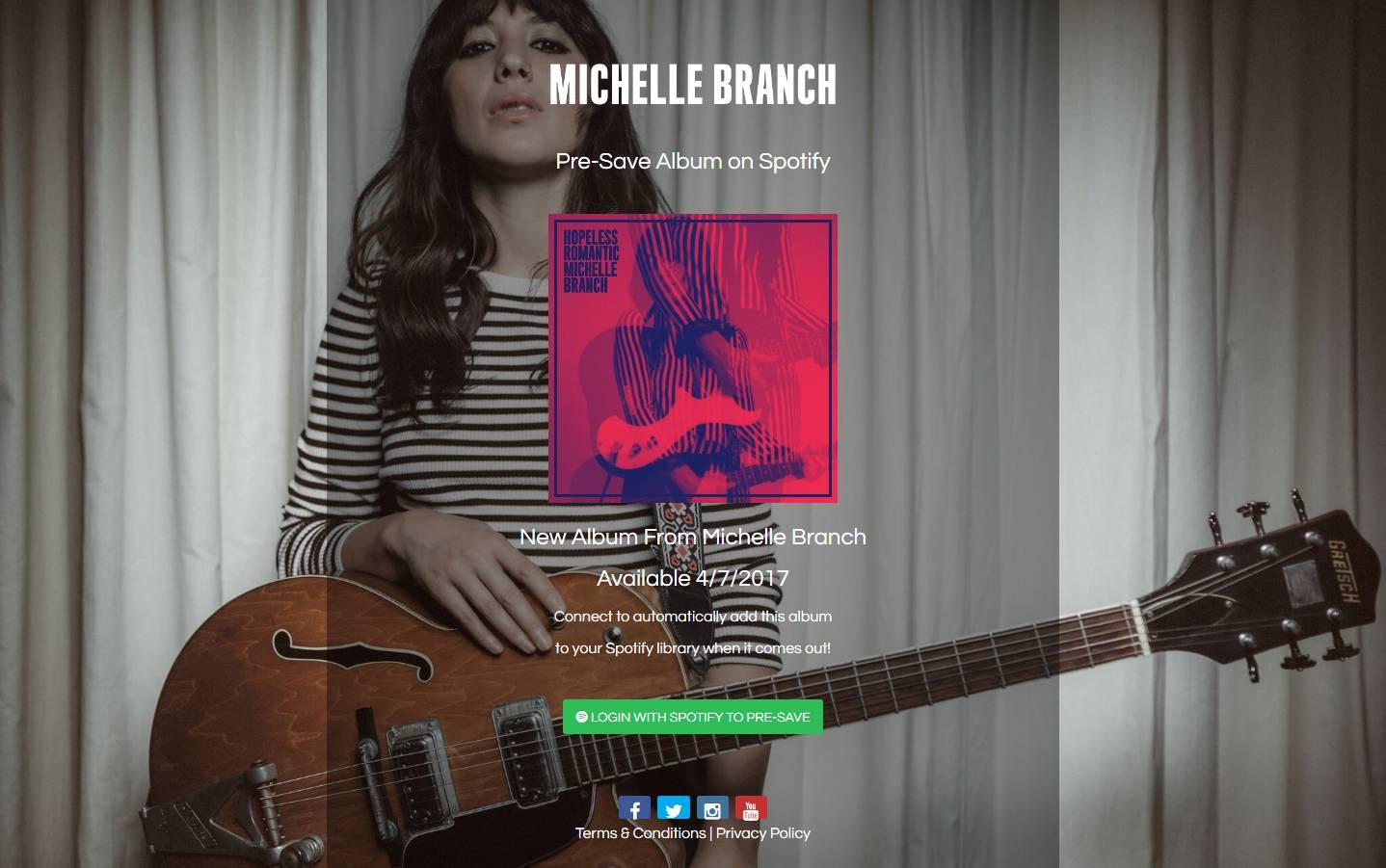 Michelle Branch Pre-Save for Spotify, Michelle Branch Presave For Spotify, Michelle Branch Spotify Pre-Save