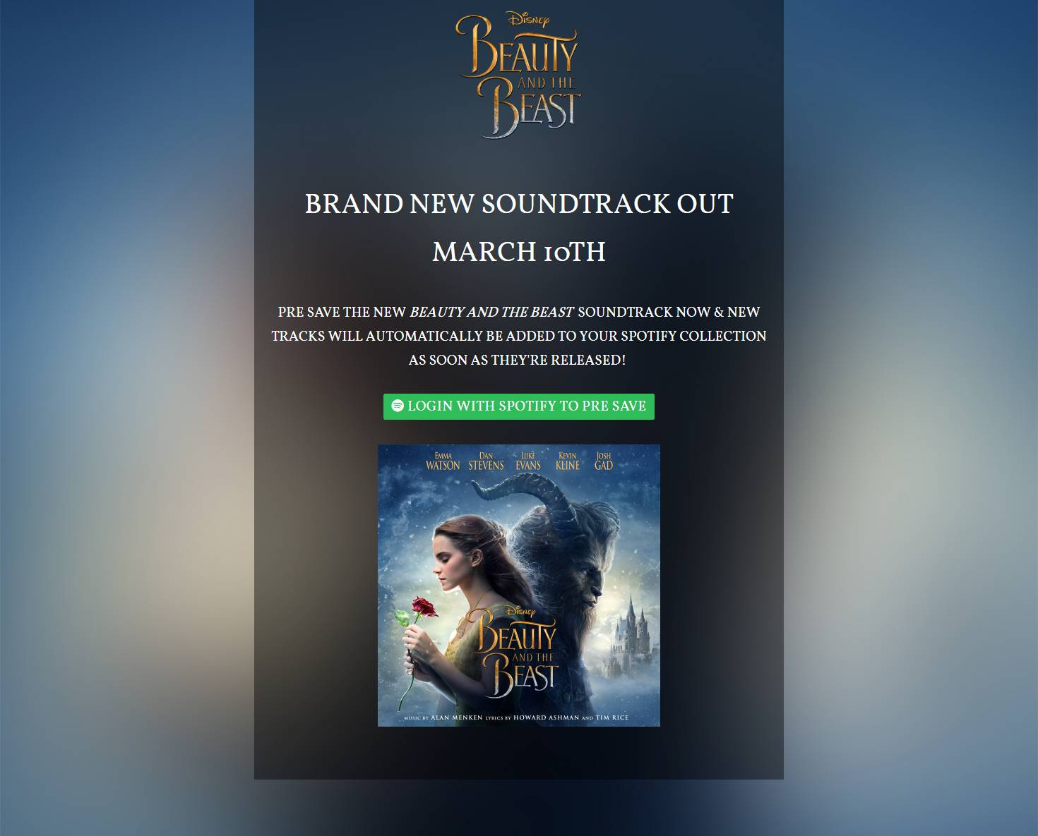Beauty and the Beast Pre-Save for Spotify, Beauty and the Beast Presave For Spotify, Beauty and the Beast Spotify Pre-Save